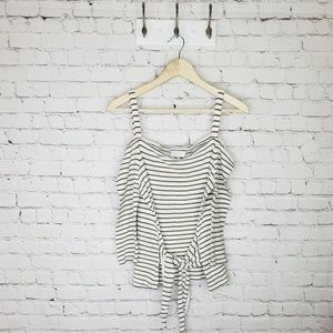 Lucky Brand striped cold shoulder tie front blouse